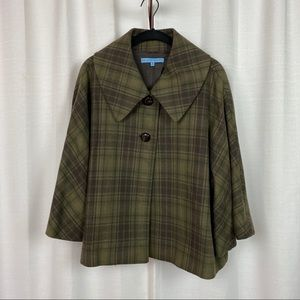 Antonio Melani Green Plaid Wool Cape Coat Sz.10